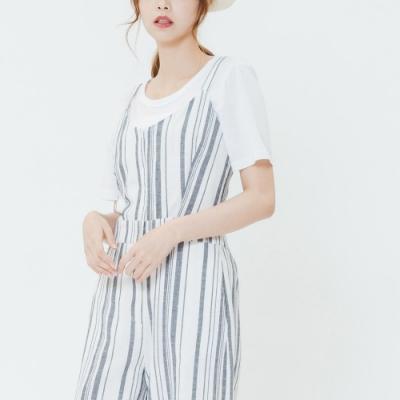 H:CONNECT 韓國品牌 女裝-細肩直條連身寬褲-藍