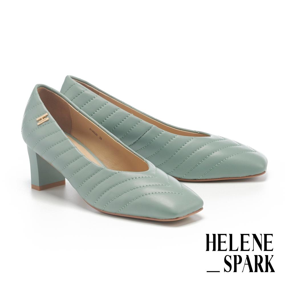 高跟鞋 HELENE SPARK 簡約量感羊皮霧金H釦方頭高跟鞋-綠