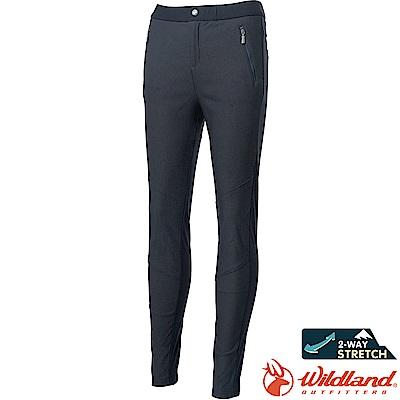 0A62397-93深灰色 女彈性拼接合身保暖長褲//防潑機能褲