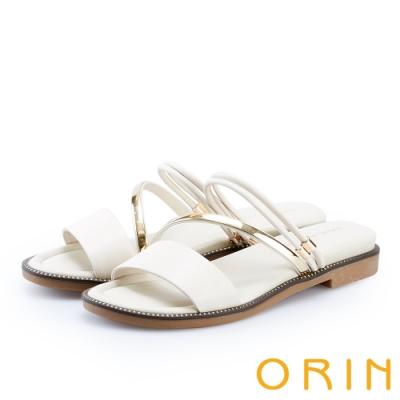 ORIN 金屬斜邊飾條牛皮平底拖鞋 白色