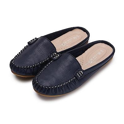 BuyGlasses 輕著素面豆豆穆勒鞋-藍