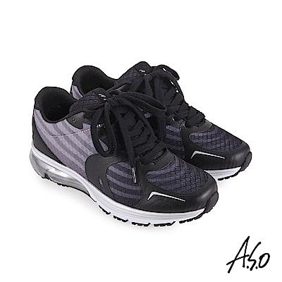 A.S.O 活力雙核心戶外健走無車縫鞋面休閒鞋 黑
