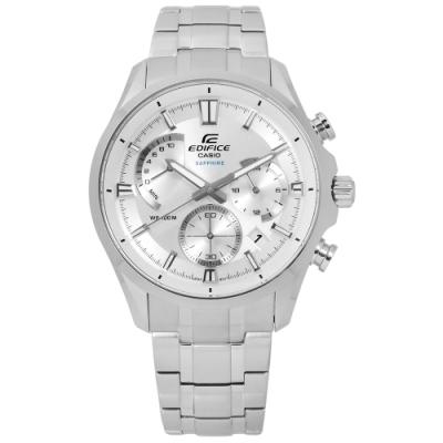 EDIFICE CASIO 卡西歐急速風貌三針三眼不鏽鋼手錶-銀色/42mm