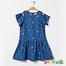 bossini女童-挖肩丹寧連身洋裝淡藍