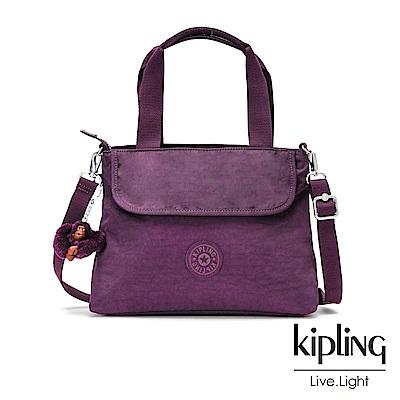 Kipling 深紫素面前翻蓋手提側背包-ENORA