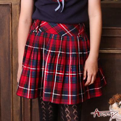 Annys學院蘇格蘭格紋壓褶傘狀短裙*6269藍