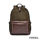 FOSSIL BUCKNER 撞色拼接後真皮後背包-墨綠/咖啡