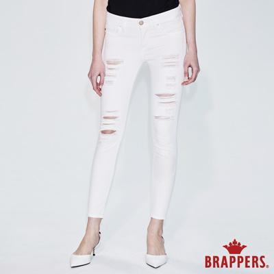 BRAPPERS 女款 LC-Cargo系列-中低腰不規則磨破九分褲-白