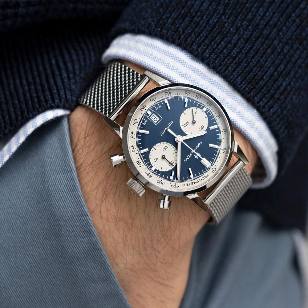 Hamilton 漢米爾頓INTRA-MATIC 正熊貓復刻計時機械錶(H38416141)