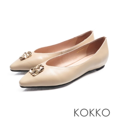 KOKKO - 超軟底方頭內增高平底鞋 - 質感米色