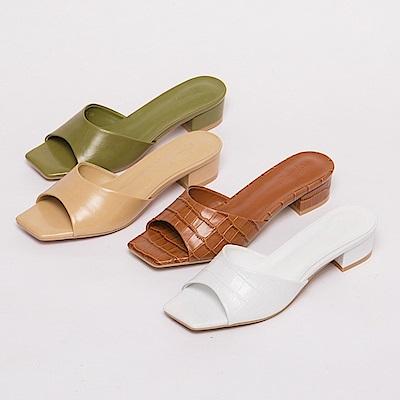 [0805限搶最終波!售完不補] Grace gift X Annie-聯名真皮寬帶低跟涼拖鞋