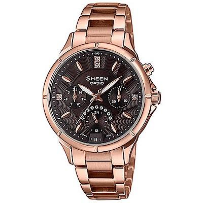 SHEEN 致玫瑰色的妳閃耀水晶腕錶(SHE-3047PG-5A)咖啡/41.4mm