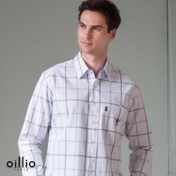 oillio歐洲貴族 男裝 長袖純棉格紋襯衫 立體剪裁 休閒商務 白色