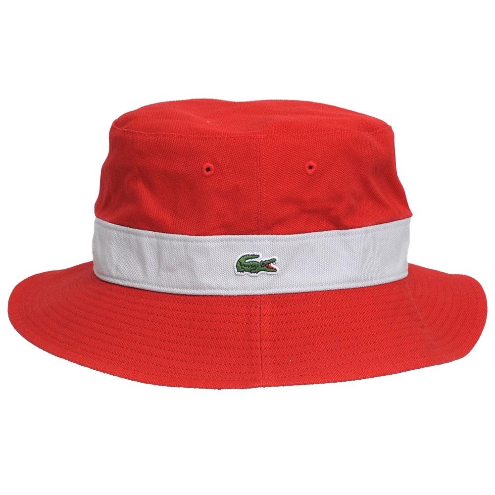 LACOSTE 品牌鱷魚刺繡LOGO圖騰雙面用遮陽帽(黑/紅系)