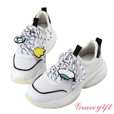 Disney collection by gracegift唐老鴨經典吊飾老爹鞋 黑