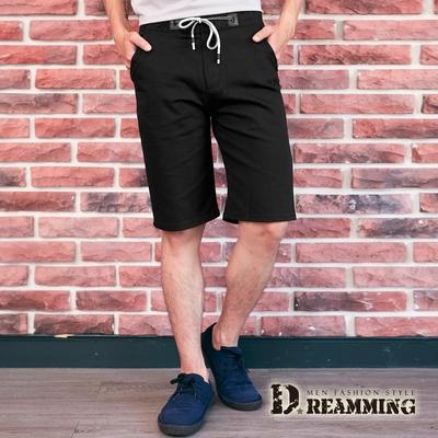 Dreamming 極簡素面鬆緊抽繩休閒短褲 透氣 彈性-黑色