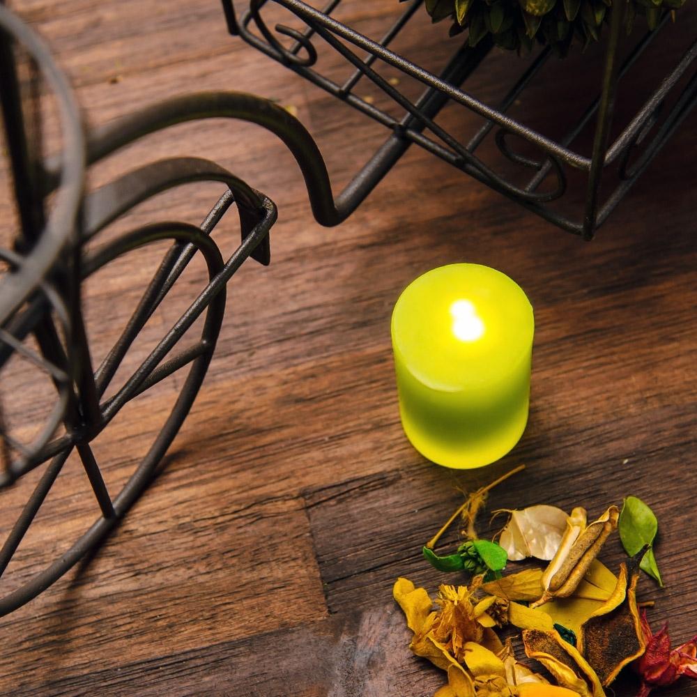 【專屬優惠↘5折起-生活工場】RICH ROSE全蠟充電式LED蠟燭燈中型M號綠色