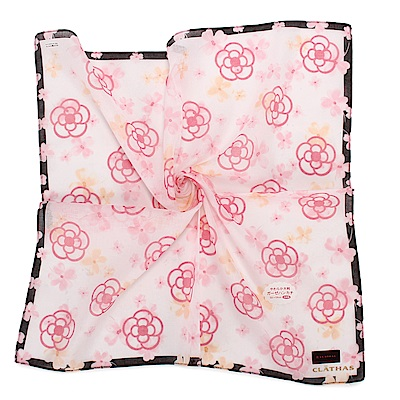 CLATHAS經典滿版山茶花純棉帕巾-粉紅白