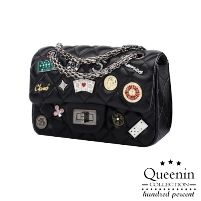 DF Queenin日韓 - 時尚小香風菱格紋徽章鎖鏈斜背單肩包-共2色