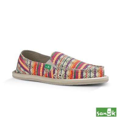 SANUK 女款 US6 部落民俗圖騰懶人鞋(橘色)
