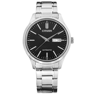 CITIZEN 自動上鍊藍寶石水晶玻璃日期星期不鏽鋼機械錶-黑色/40mm