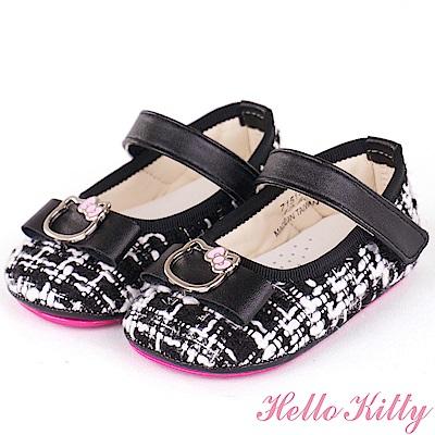 (雙11)HelloKitty 小香風毛呢舒適超纖學步娃娃童鞋-黑