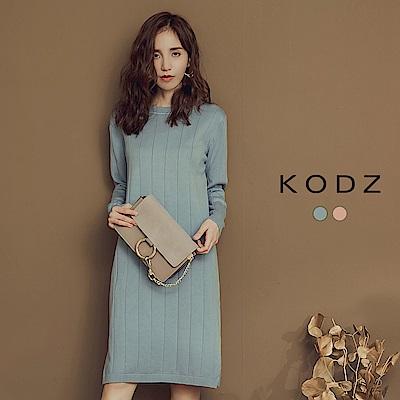 東京著衣-KODZ 簡約美學坑條修身針織長版上衣(共二色)