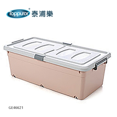 【Toppuror 泰浦樂】滑輪雙開掀蓋床底收納箱-高款粉色(GE46621)
