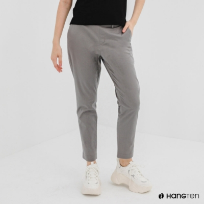 Hang Ten-女裝-TAPERED FIT彈性鬆緊腰頭九分褲-深灰色