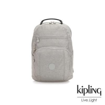 Kipling 清新柔和丹寧灰前後雙層收納後背包-TROY