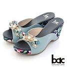 【bac】復古花色拼接皮革楔型台拖涼鞋-藍灰