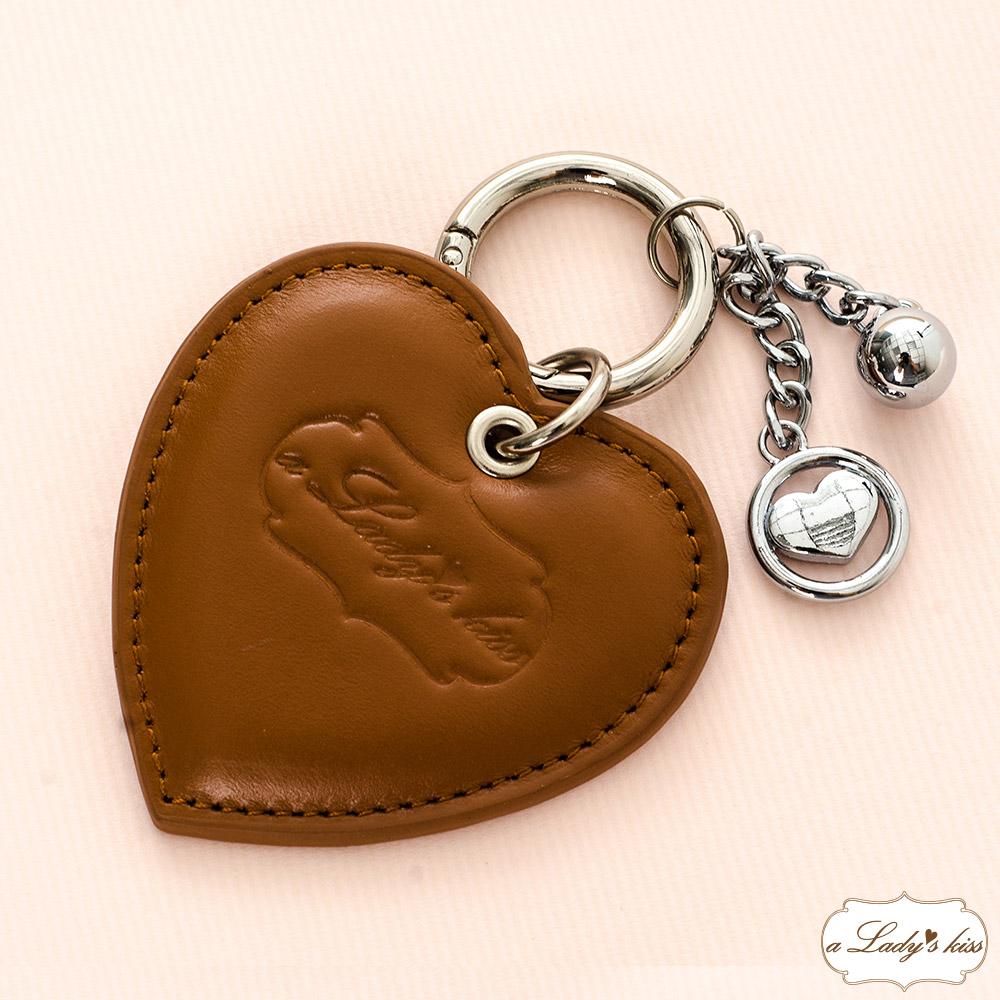 【暢貨】a Lady 's真皮 小牛皮愛心銀珠鑰匙圈包掛飾(4色) product image 1
