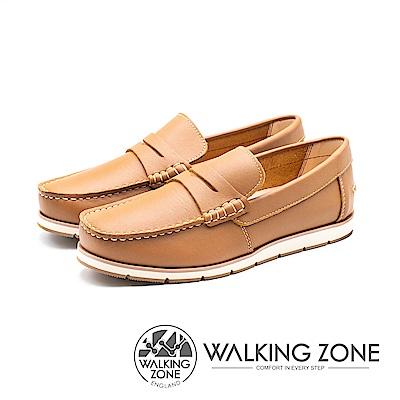 WALKING ZONE(男)素面英倫雅痞風樂福鞋-棕(另有藍)