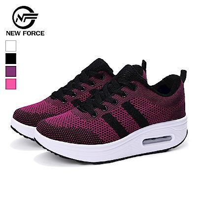 NEW FORCE 動感飛織防滑氣墊健走鞋-黑紫