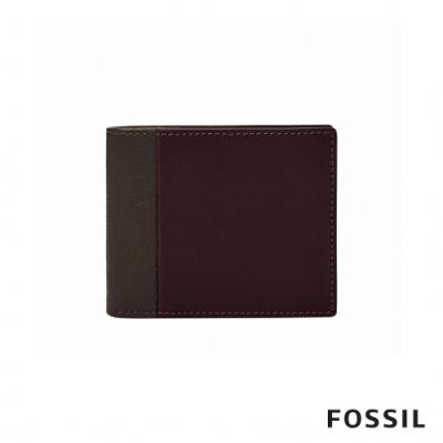 FOSSIL WARD 真皮帶翻轉證件格RFID男夾-深咖啡X酒紅色
