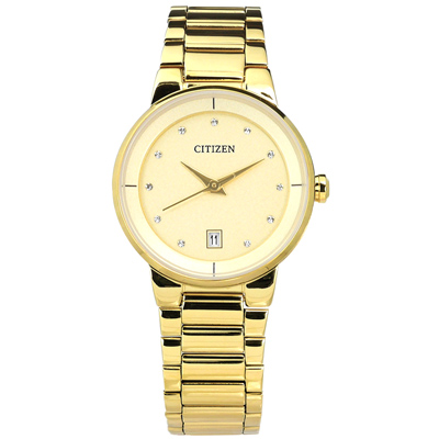 CITIZEN 晶鑽刻度設計日期不鏽鋼手錶(EU6012-58P)-鍍金/27mm
