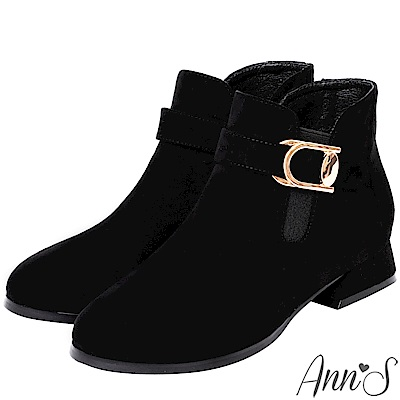 Ann'S實穿零距離-金釦側拉鍊平底短靴