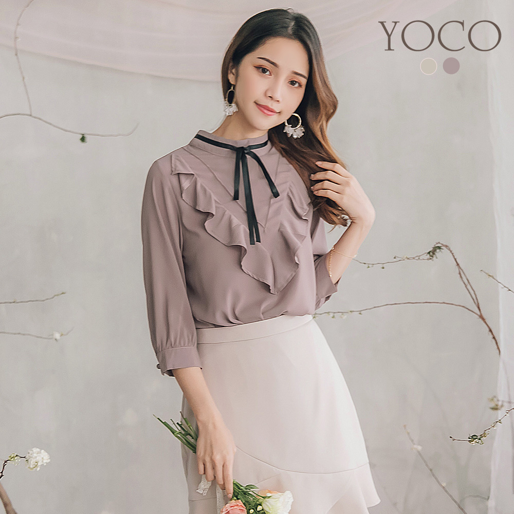 東京著衣-YOCO  浪漫蝴蝶結拼接波浪V字雪紡上衣-S.M.L(共兩色)