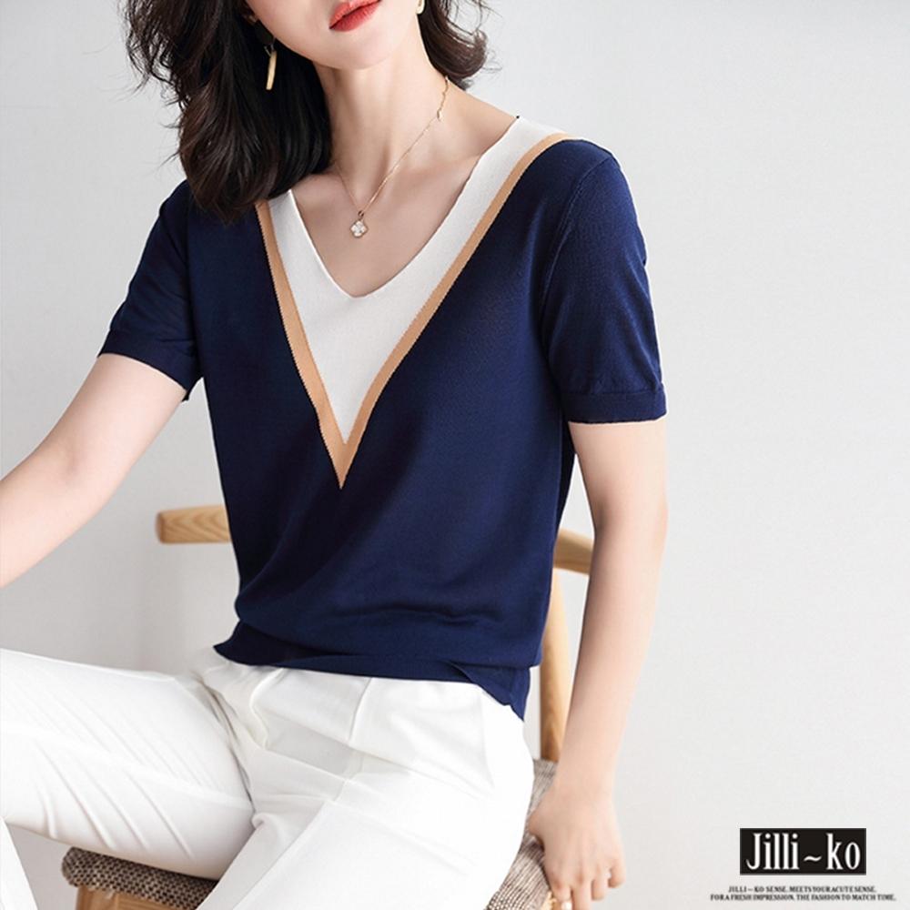 JILLI-KO 冰絲撞色V領造型針織衫- 藍/白