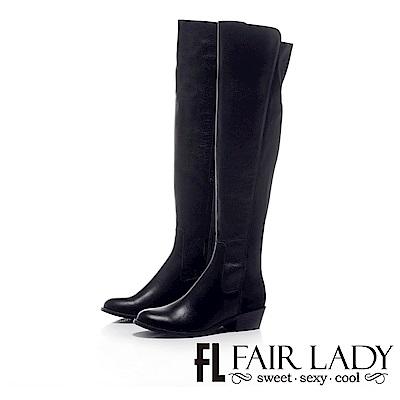 Fair Lady 性感雙材質拼接拉鍊粗低跟過膝靴 黑
