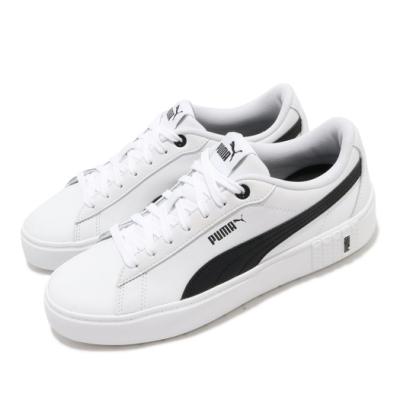 Puma 休閒鞋 Smash Platform 女鞋 基本款 簡約 舒適 球鞋 穿搭 皮革 白 黑 37303502