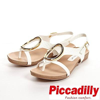Piccadilly 舒適軟底 大O裝飾釦環夾腳涼鞋 女鞋-白(另有紅)