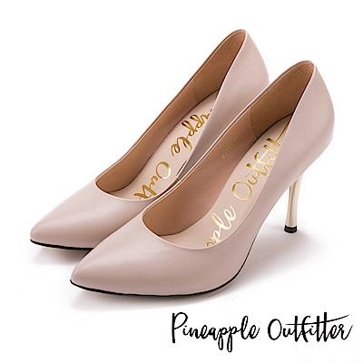 Pineapple Outfitter 性感名媛 真皮素面尖頭金屬高跟鞋-裸色