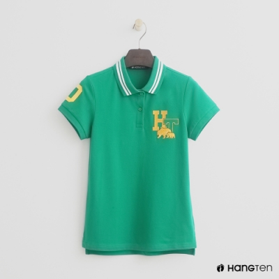 Hang Ten-女裝-滾邊領刺繡POLO衫-綠