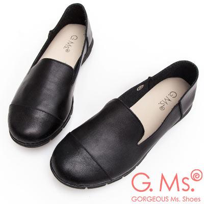 G.Ms. MIT系列-牛皮拼接樂福休閒鞋-黑色