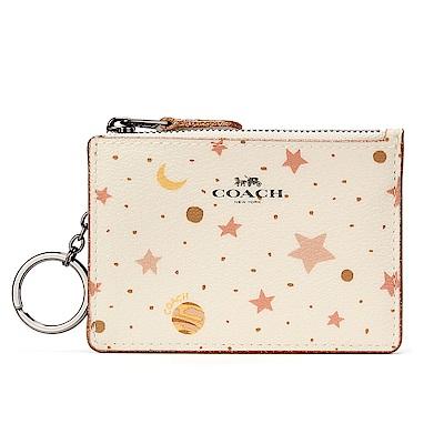 COACH 繽紛星象圖案PVC防刮皮革證件夾零錢鎖包-米白色