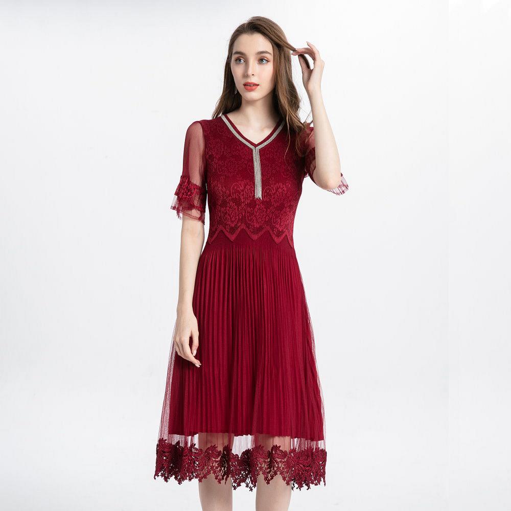 優雅腰間鋸齒鏈條蕾絲洋裝-F(共二色)-糖潮