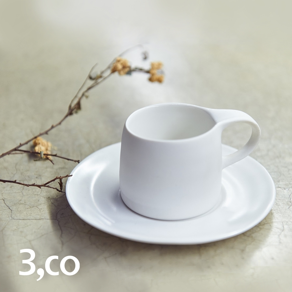 3,co 卡布奇諾杯碟組(2件式) - 白
