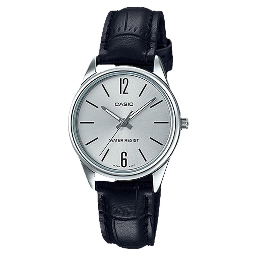 CASIO 經典復古輕巧準點時刻指針腕錶-黑X銀面(LTP-V005L-7B)/34mm