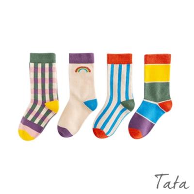 童裝 繽紛彩虹配色襪子-四入 TATA KIDS